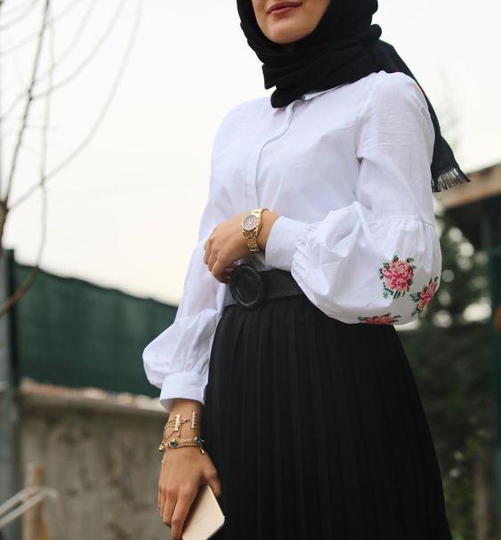 صورة ملابس محجبات 2019 , كولكشن علي احدث موضه لملابس المحجبات