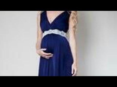 صورة فستان حمل سهرة , اجمل فساتين سوارية تناسب الحمل