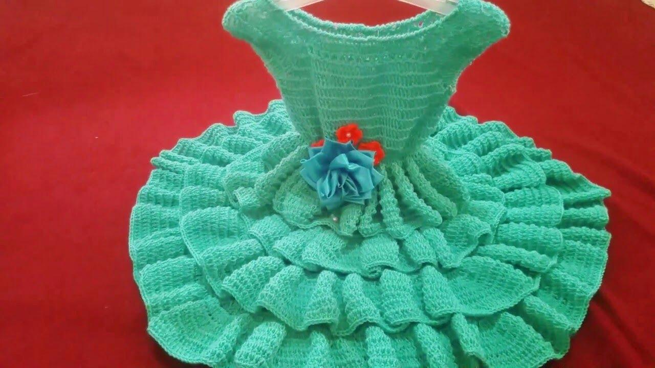 صورة فستان صوف بناتي , احلى فساتين تريكو بناتى